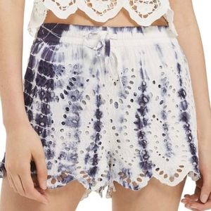TOPSHOP Tie Dye Embroidered Eyelet Cutwork Shorts
